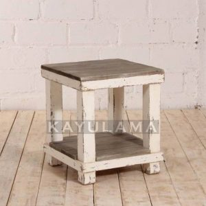 ANTIQUE WHITE PINE END TABLE