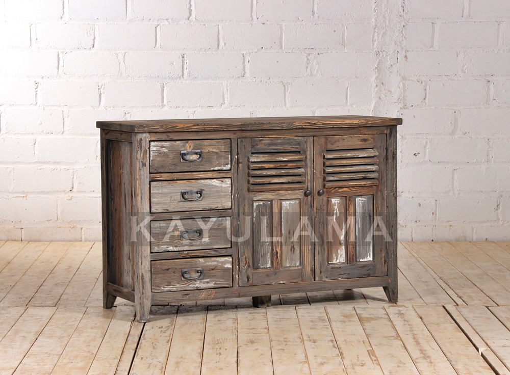 reclaimed pine console table cabinet storage